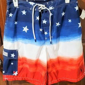 American flag design men's swim trunks size M!